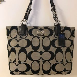 Black and Grey Coach small tote